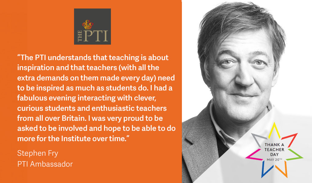 👩🏫 👨🏫 Today is #ThankATeacher day and we are amazed by the tenacity of teachers during such a difficult time. Ambassador Stephen Fry @stephenfry believes teachers have the right to be inspired, like their students. 👉 Find out how to support us here ptieducation.org/donors/thank-a…