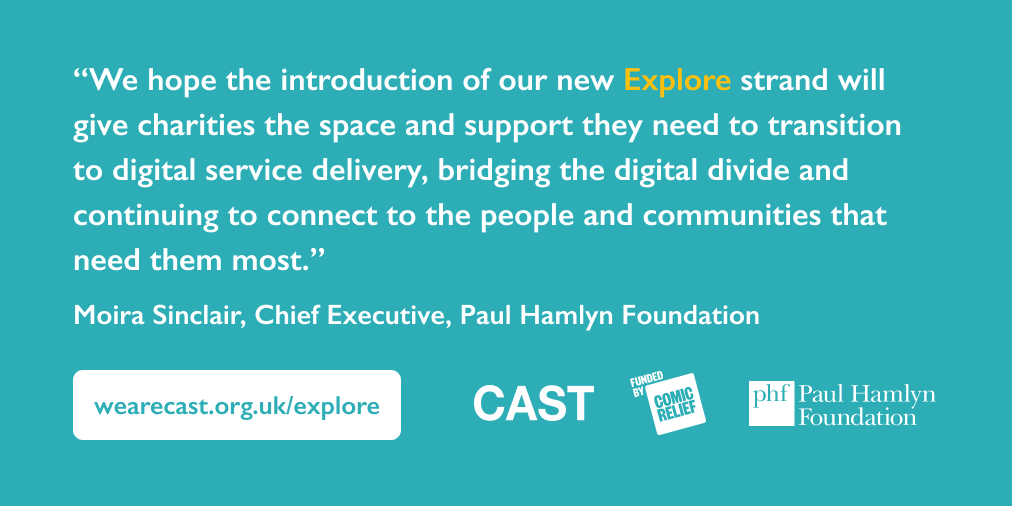 Big news! Together with @ComicRelief we've launched 'Explore', a new early stage strand of our joint #TechforGood funding programme, delivered by @TechForGoodCAST Find out more: bit.ly/ExplorePrgrm