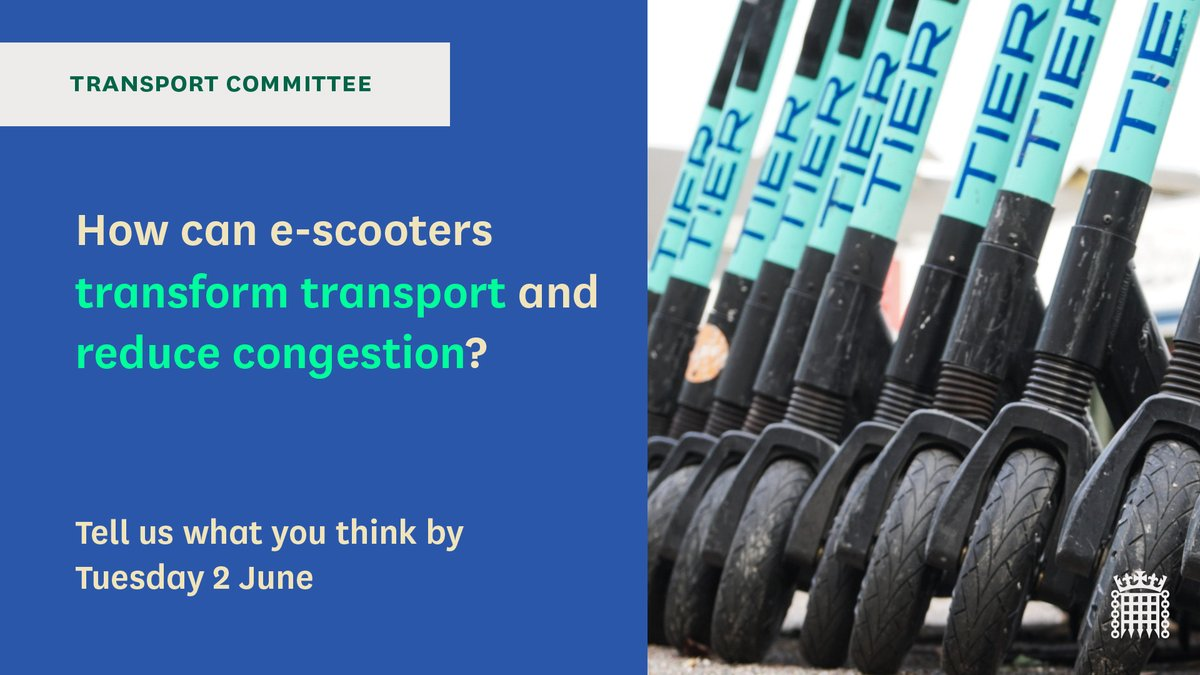 🛴You only have two weeks left to let us know how you think #escooters can transform transport. Do you think that more people using e-scooters will reduce congestion? 🔎Have a look at our areas of interest and tell us what you think: committees.parliament.uk/committee/153/…