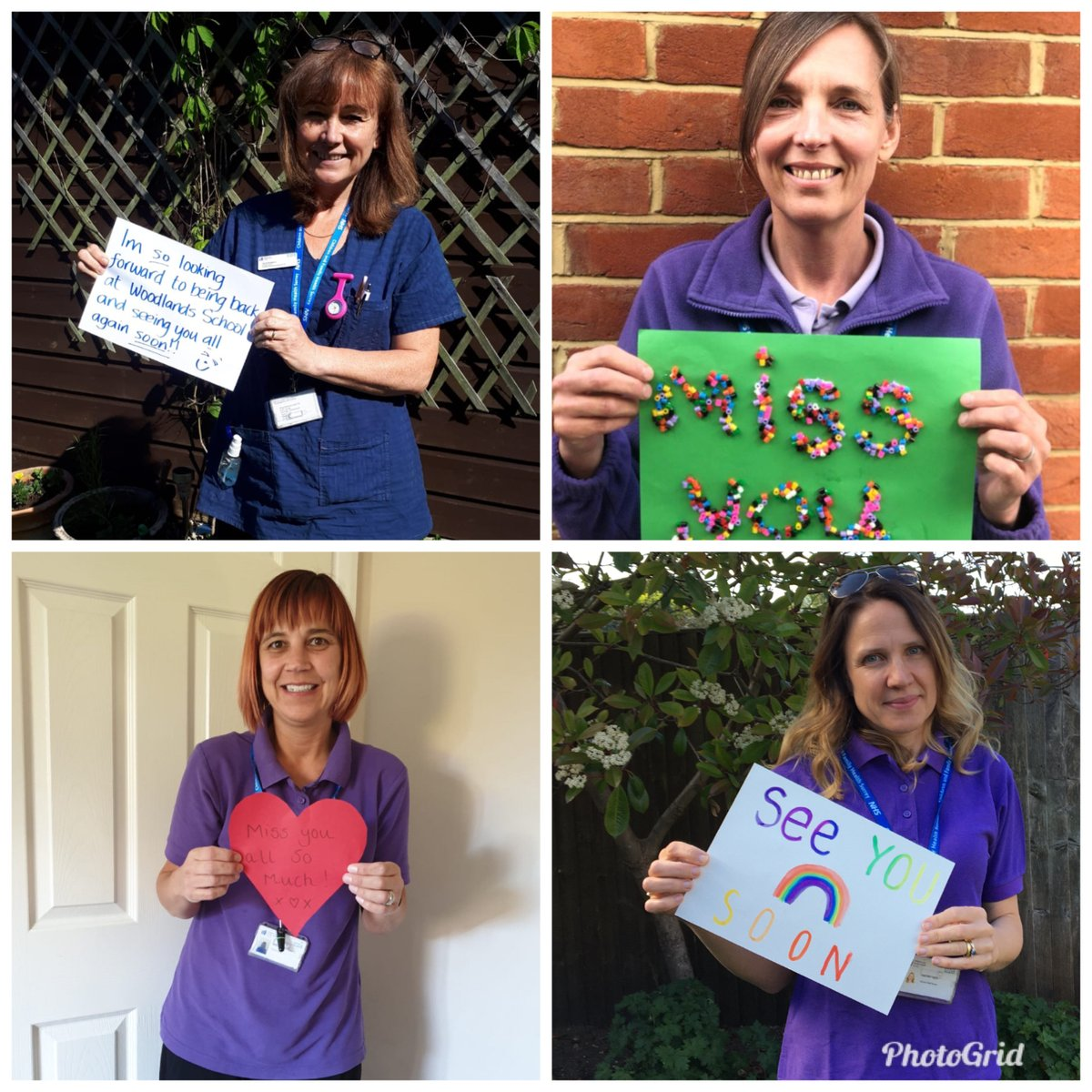 A lovely message to the children from Heidi, Andrea, Sally and Jo in our wonderful nursing team at Woodlands School 😊 #NHSHeroes #Nursing
