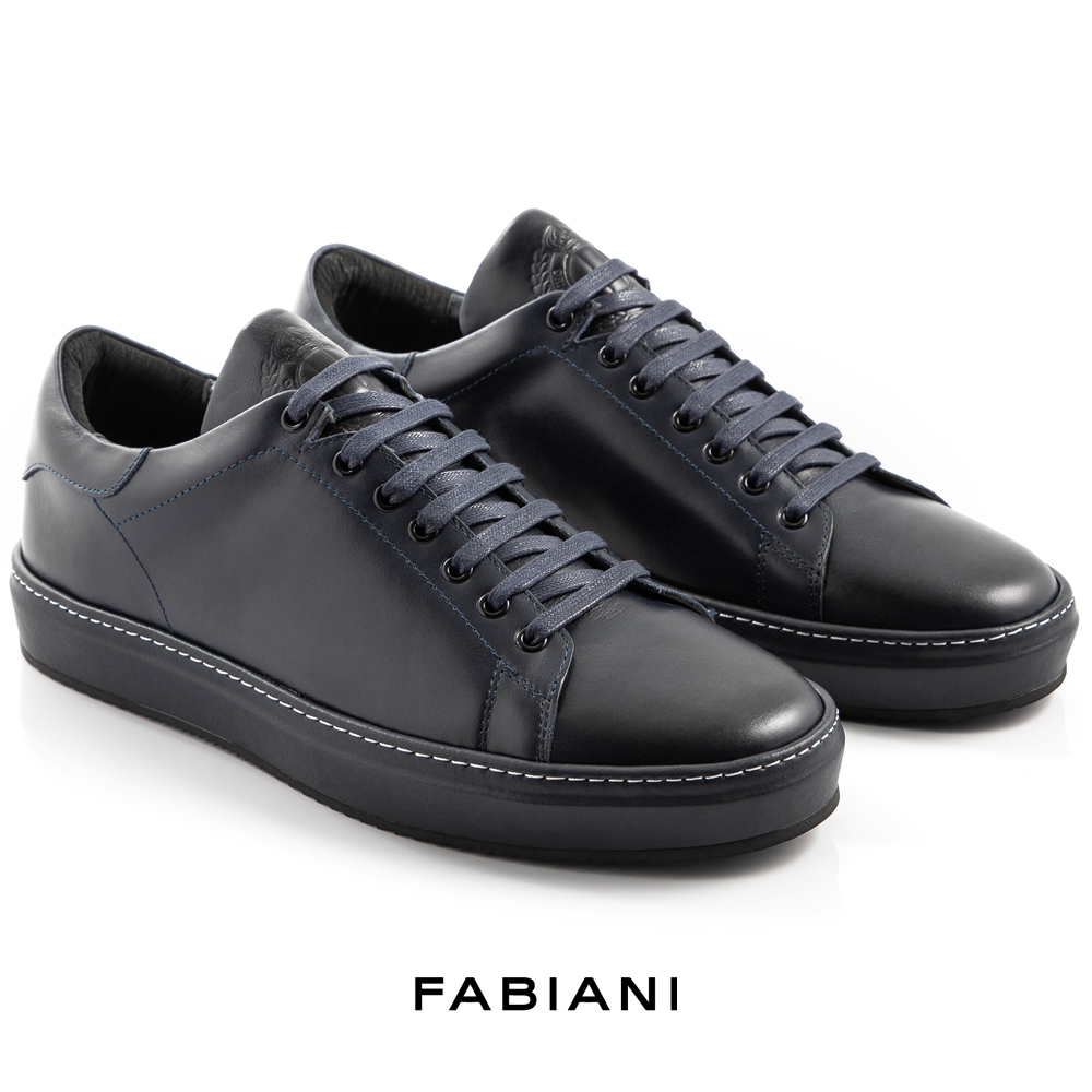 UNPACKED navy leather court sneakers
