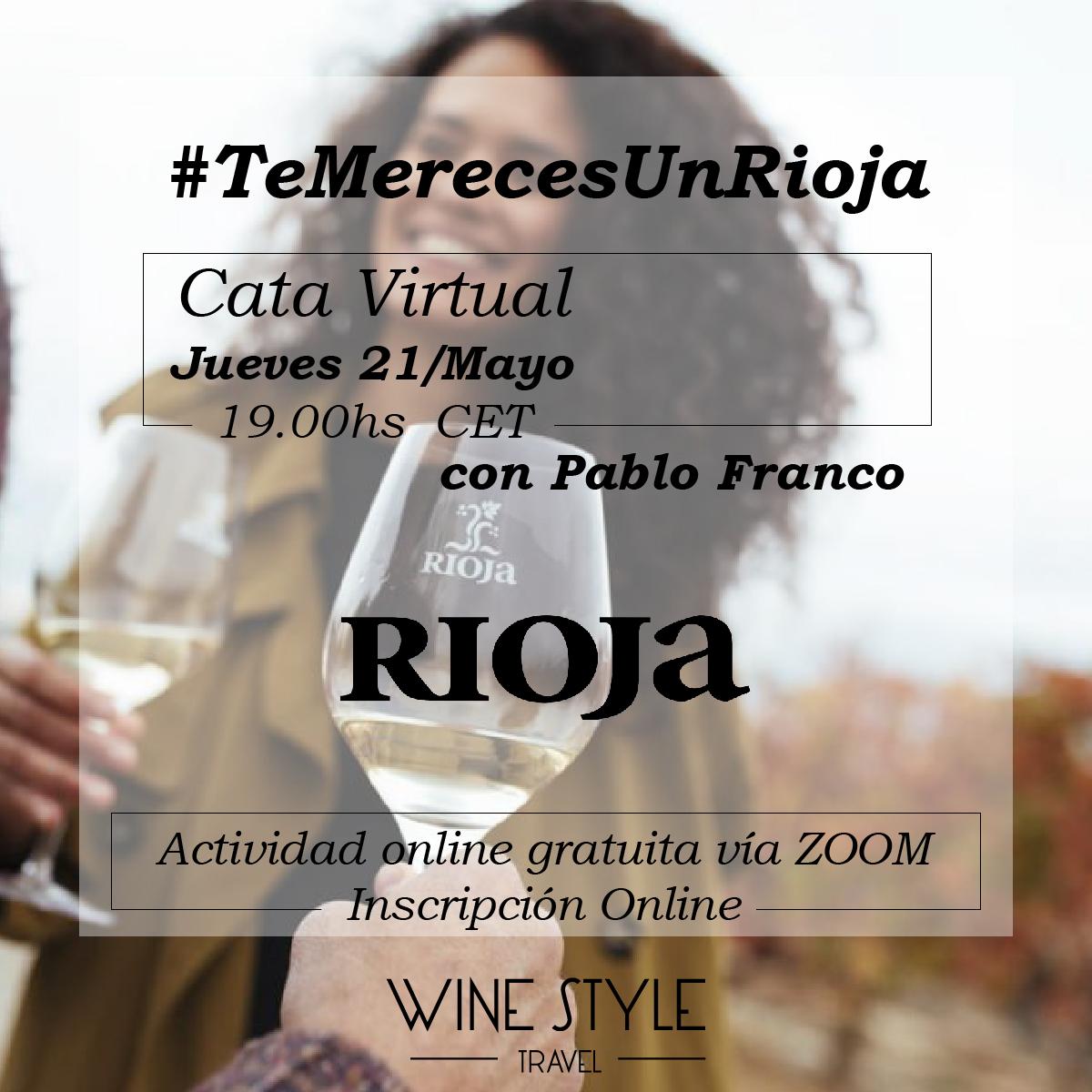 Este jueves nos encontraremos en una nueva #CataVirtual con Pablo Franco, Director Técnico de @RiojaWine_ES: la DO más antigua de España y la #1 en recibir la certificación de Calificada. #TeMerecesUnRioja ¿no crees? Apúntate aquí https://www.winestyletravel.com/inscripcion-catas-vinos-online-2/…pic.twitter.com/IzBLDNibLy