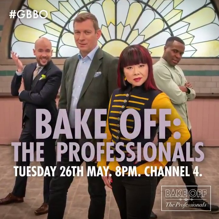 Yes, chef! Bake Off: The Professionals is back. Join @TomAllenComedy, @LiamCBakes, @Cherish_Finden and @BenoitBlin_MCA on Tuesday 26th May at 8pm on @Channel4. #GBBO