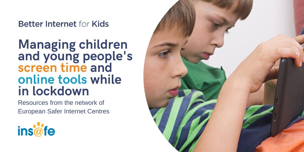 Many #parents are concerned as to how much #screentime their children are getting as a consequence of the #COVID19 lockdown and homeschooling, and what apps and services they use online. We compiled all the guidance from the @Insafenetwork on the topic at bit.ly/35SBYib