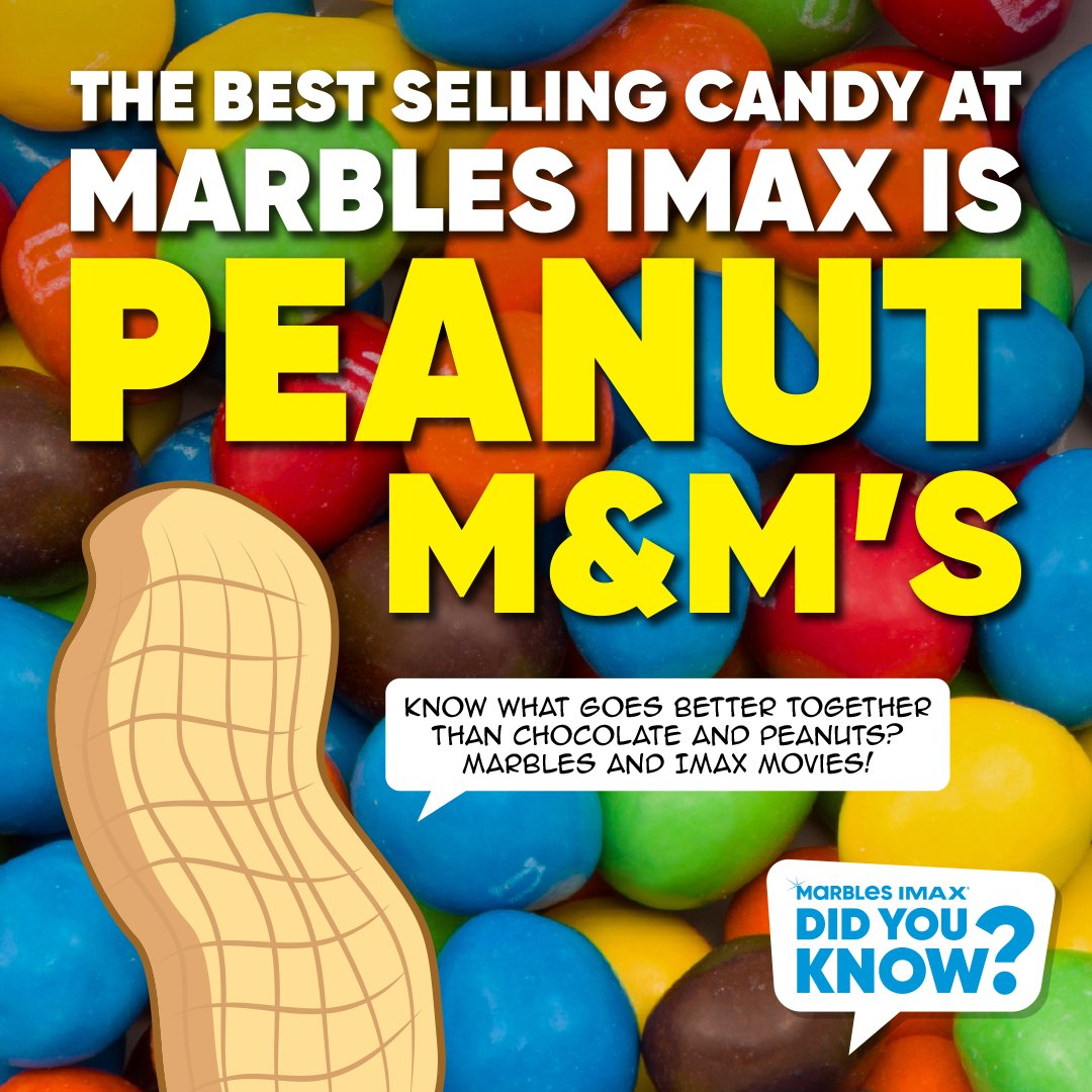 Did you know? The best selling candy at Marbles IMAX is Peanut M&M's!  Fun Fact: Plain/Milk Chocolate M&M's were introduced in 1941. 13 years later, Peanut M&M's were introduced in 1954.  Have you ever combined Peanut M&M's with popcorn? It's the perfect combo of sweet and salty. https://t.co/cMgAvZKh97