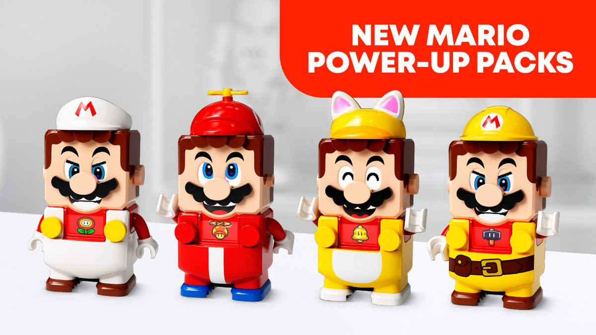 Upgrade LEGO Mario's wardrobe for #LEGOSuperMario and unlock all new ways to play with the new Power-Up Packs! Customize Mario with the Fire Mario suit, Propeller Mario suit, Cat Mario suit, and the Builder Mario suit!  All four Power-Up Packs arrive 8/1.