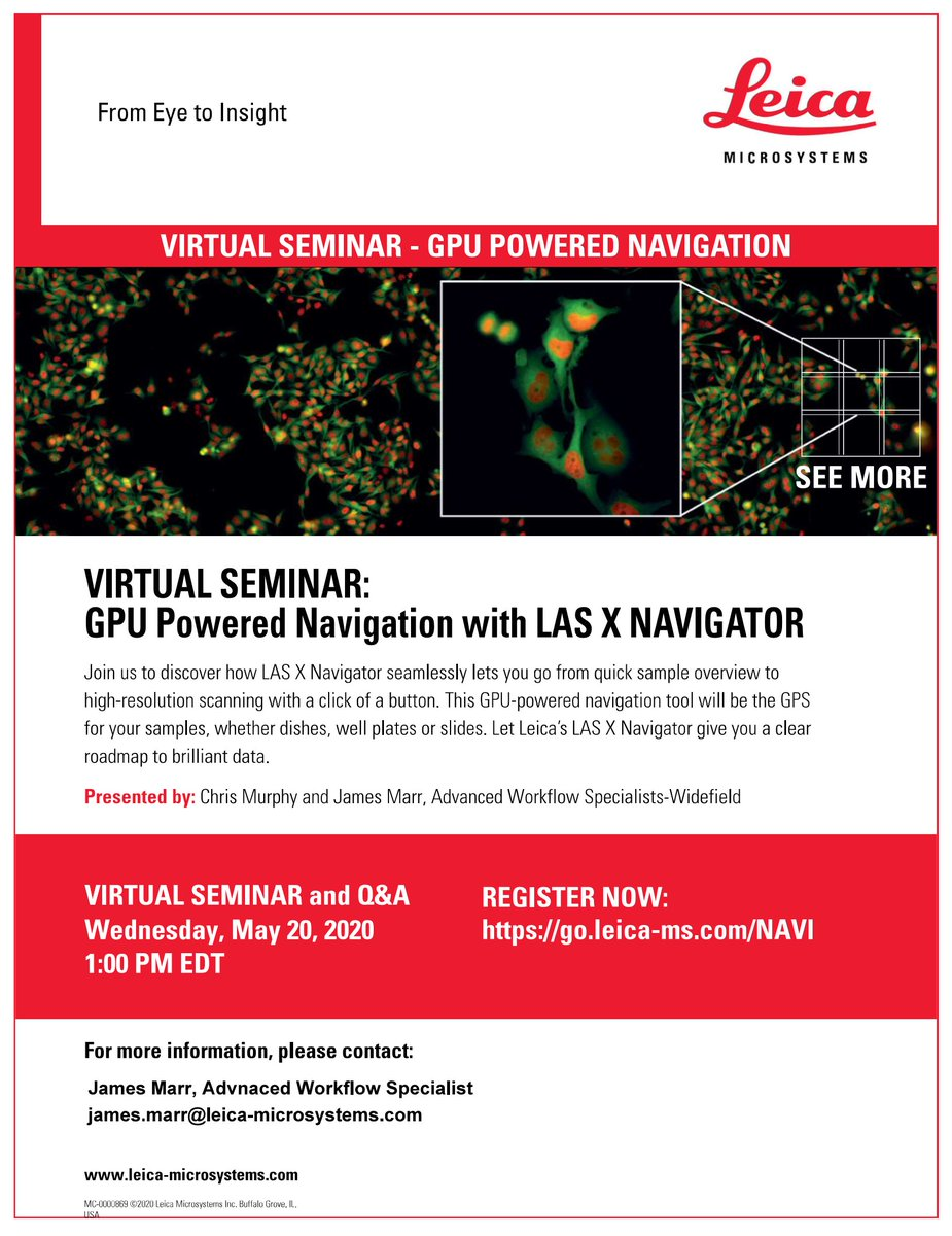 James On Twitter Remember To Join Us At 1 Pm Edt Today For A Webinar Covering Leicamicro S Lasx Navigator Package Plenty Of Time To Register At Https T Co Yery2gmapd Microscopy Imaging Webinar Https T Co Mhpunz8snn