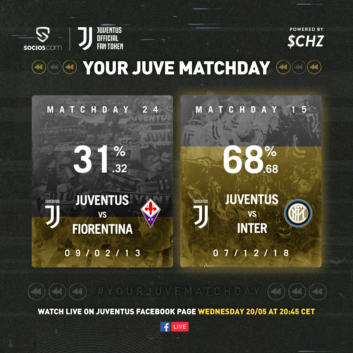 The results are in and we head 🔙 to 2018 for #JuveInter! 🇮🇹⚪️⚫️  Visit https://t.co/RuB2Ytx8qK tonight and enjoy #YourJuveMatchday 😊  Big props to everyone for voting on the @socios app 🙌 https://t.co/otRRSnXOgO