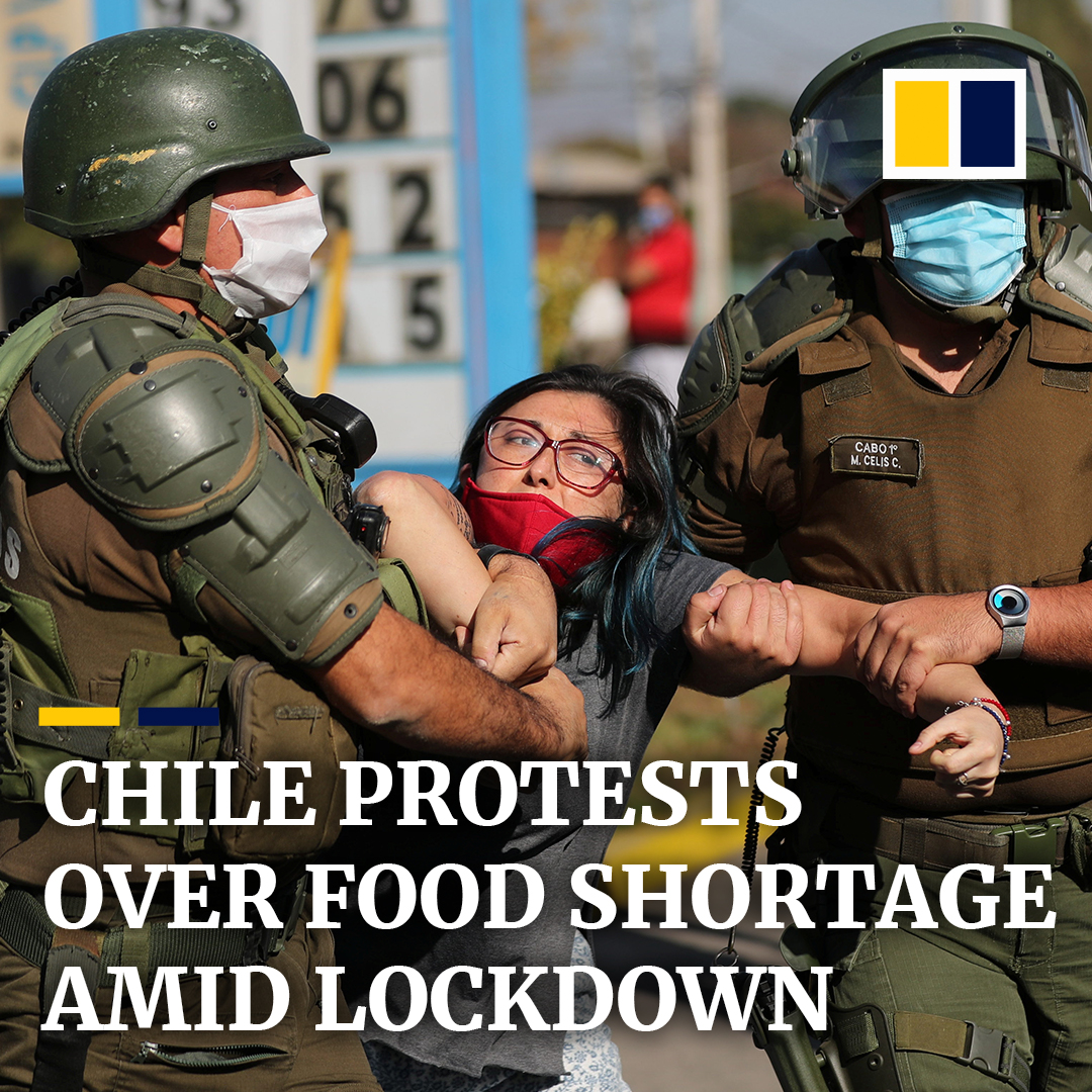 Chileans have taken to the streets in protests, demanding for food aid and help from authorities amid a #Covid19 lockdown. https://t.co/qZ6eCWwHD4