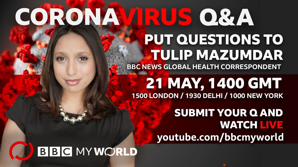 Hello! I'm answering your health questions about the #coronavirus in a special Q&A on #BBCMyWorld https://t.co/mftN106hZX tomorrow. Tweet me your questions and I'll try and get through them all tomorrow. https://t.co/xnEwbktn06