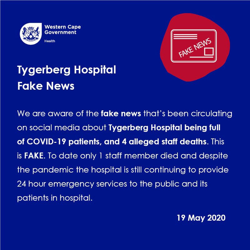 .@WestCapeHealth has confirmed that a message about Tygerberg Hospital circulating on social media is #FakeNews. For more on fake news and how to report it, go to: https://t.co/nzTCsQl7Ff. https://t.co/CIzGsTqvsu