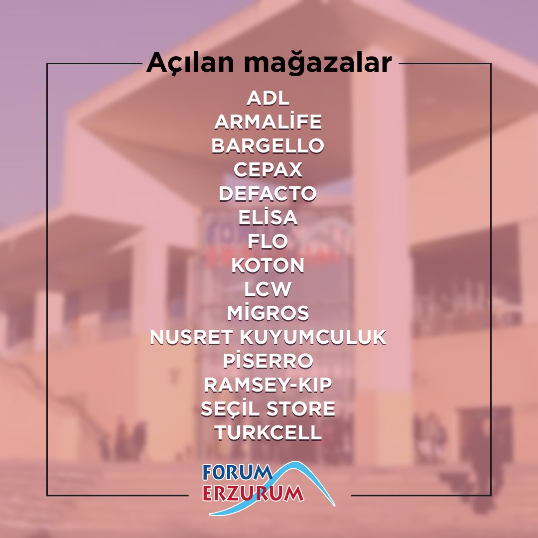 Bu hafta hizmete başlayan mağazalarımız ile Forum Erzurum'da buluşuyoruz! Mağazalarımızın saatleri kendi özelinde değişkenlik gösterip, AVM içerisindeki gelişmelerimizi Instagram hesabımızdaki story paylaşımlarımızdan takip edebilirsiniz. 🙏🏻 https://t.co/YctFP6RgPA