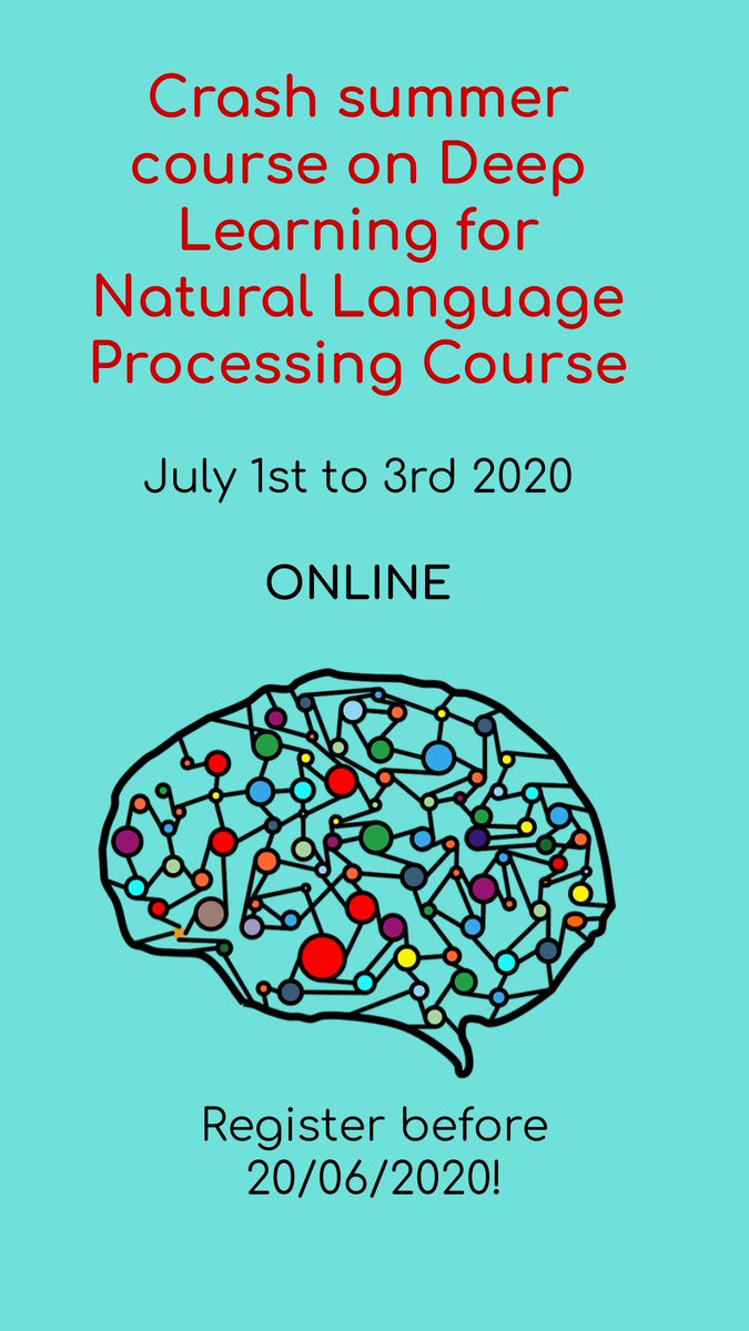 Registration open for summer crash course #DL4NLP on Deep Learning for #nlproc with @eagirre @oierldl & Ander Barrena  20 hours July 1st to 3rd Broadcasted online, due to pandemic  Labs in split groups More info: https://t.co/C8RKQZ8zWZ @Hitz_zentroa @haplapemlct https://t.co/WlKvowTPeX