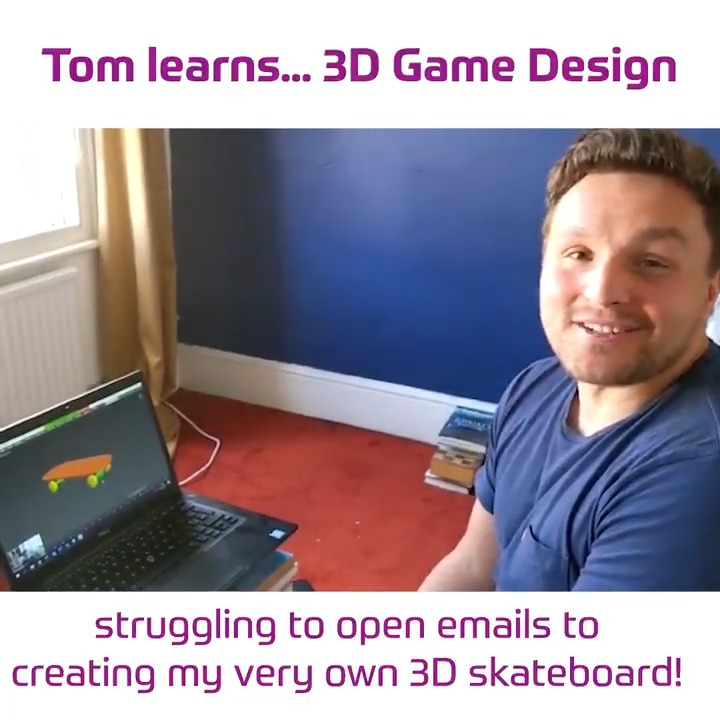 We challenged our Volunteer & Alumni Manager Tom to learn 3D game design skills over Zoom!   With a virtual tutorial from former member of Team UK & game designer @DanM3D, this novice was able to build a 3D skateboard  Keep an eye out for the full tutorial.  #MySkills pic.twitter.com/3i2AN6vflK