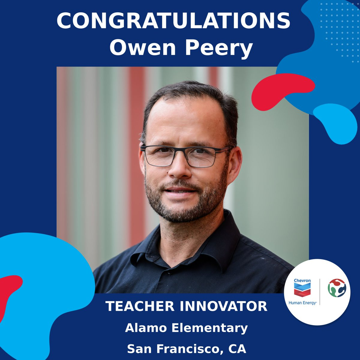 Drum roll please!! Along with our partners @Chevron, we announce the Round 2 winner of the #2020TeacherInnovatorAward, @owenpeery of the @SFUnified School District! Mr. Peery takes donated computers, refurbishes them and delivers them to his students. #SCOPESdf #AllinForTeachers
