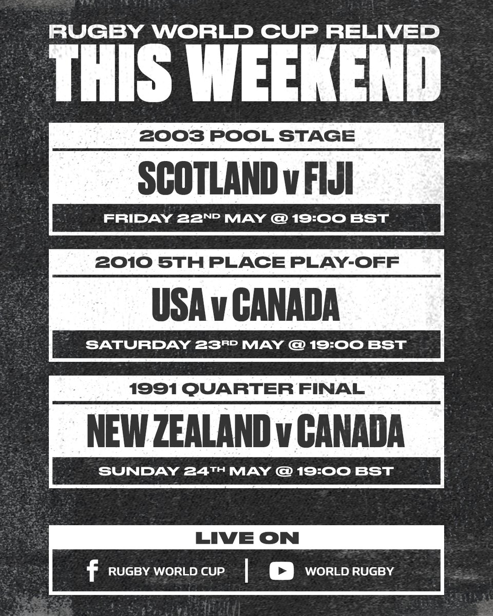 A look back into the archives 👀 RWC 2003 Pool Stage: 🏴󠁧󠁢󠁳󠁣󠁴󠁿 v 🇫🇯 📅 Fri, May 22 ⏰ 19:00 BST RWC 2010 5th Place Play-off: 🇺🇸 v 🇨🇦 📅 Sat, May 23 ⏰ 19:00 BST RWC 1991 Quarter Final: 🇳🇿 v 🇨🇦 📅 Sun, May 24 ⏰ 19:00 BST 📺 Rugby World Cup Facebook / World Rugby YouTube