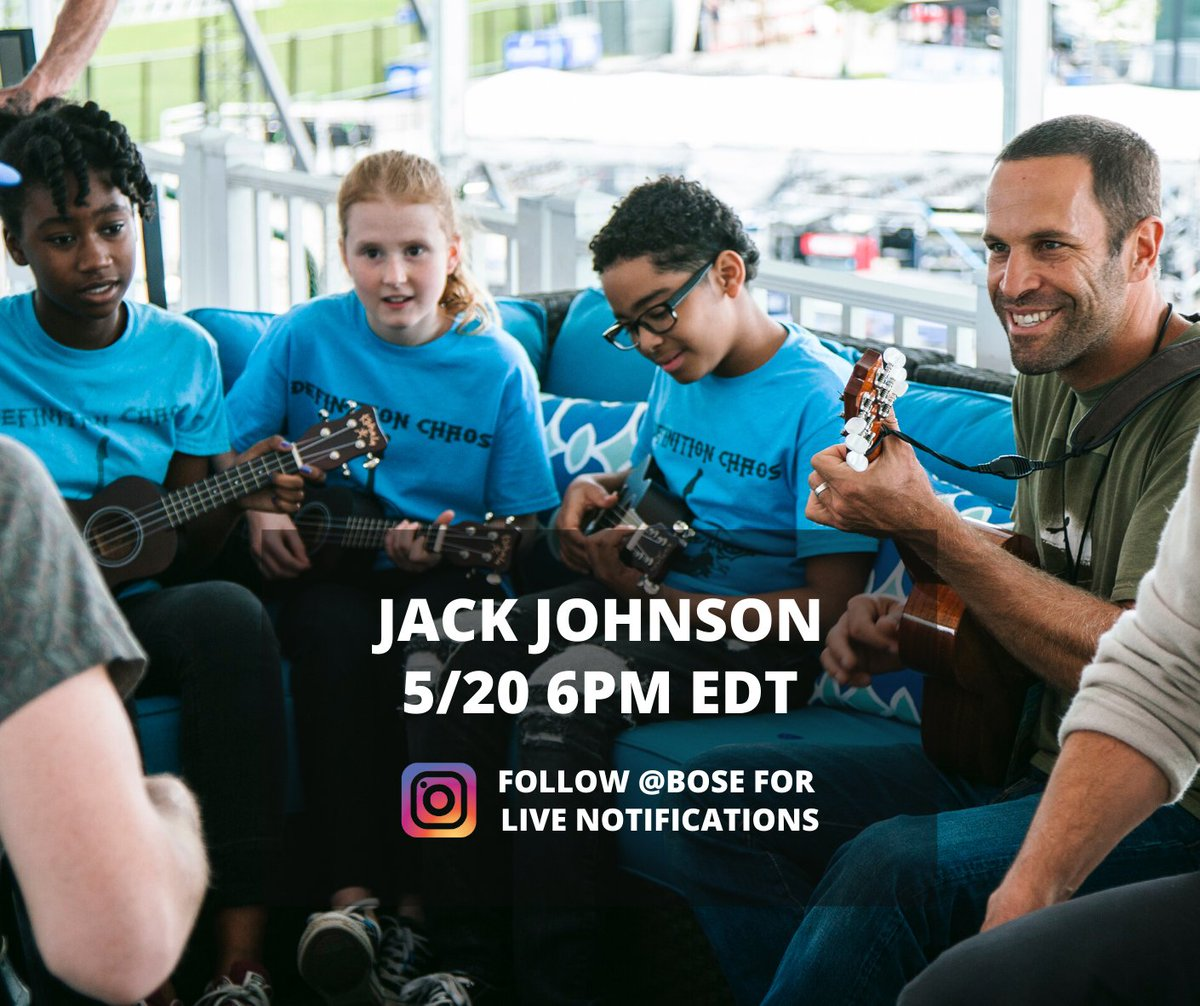 A free music lesson from the one and only @jackjohnson?! Jack will be going LIVE on the @Bose Instagram channel for #MusicGivesBack TONIGHT at 6pm ET.  We are so grateful to receive a generous donation from Bose to support music education - Join Jack and #MakeMusicAtHome tonight! https://t.co/1Du02AKwgZ
