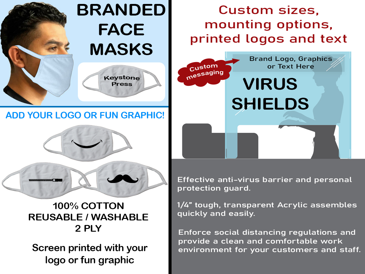 Just because you are #socialdistancing, it doesn't mean you can't be stylish! Check out these fun mask and virus shield designs from @KeystonePress