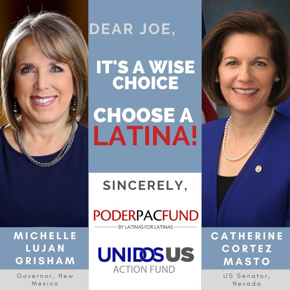 A #LatinaVP would drive 32 million #Latinx voters to the polls this November. That's why we & @PODERPAC are calling on @JoeBiden to pick an accomplished & experienced Latina leader like @GovMLG or @SenCortezMasto as his running mate. A #Latina's place is in the #WhiteHousepic.twitter.com/QVx6RFzgNy