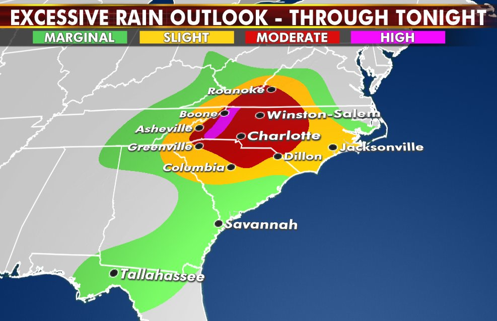 Heavy rain continuing from the southern Appalachians into Carolinas & Mid-Atlantic. #flooding #weather