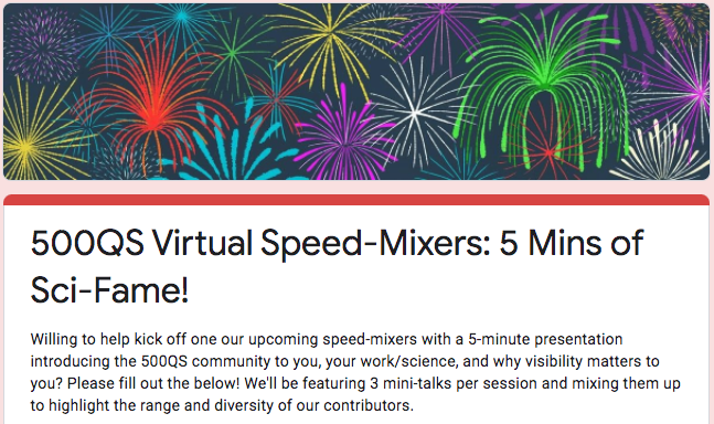 Big news, 500QSers! Starting in June, well be hosting weekly Zoom speed-mixers so our 10K community can get to know each other—AND were going to kick each one off w/a trio of 5-min talks from contributors. Willing to present? Pls give us your deets! ↣↣ bit.ly/36jrzfj