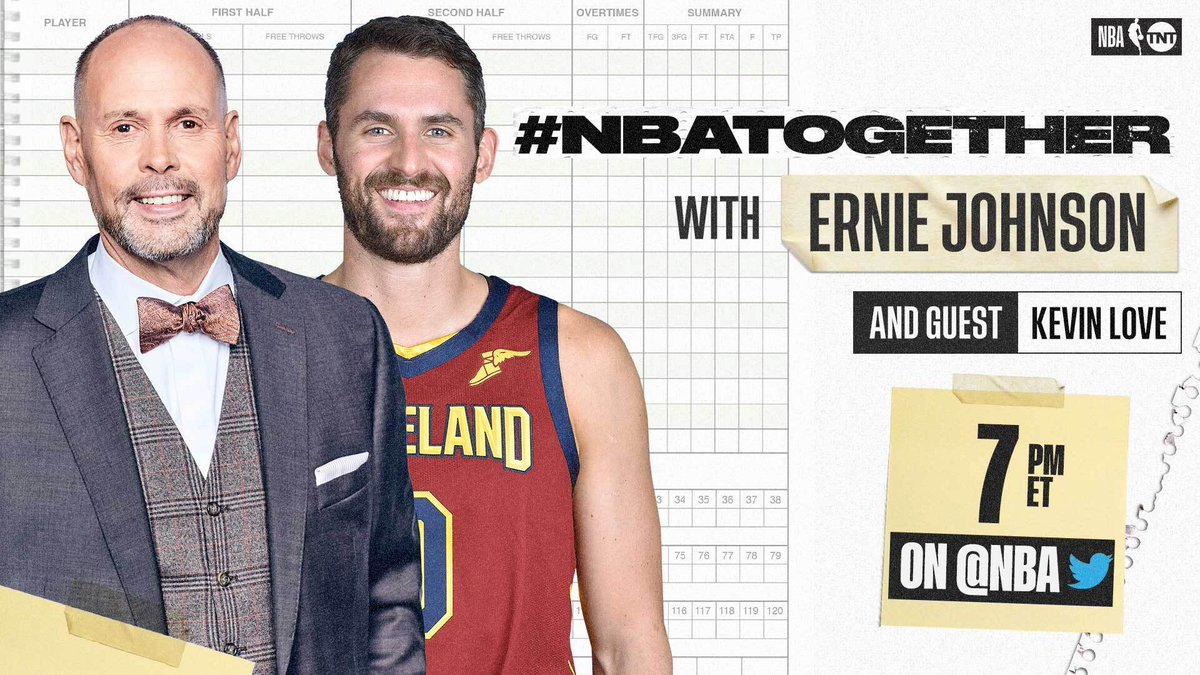#NBATogether with Ernie Johnson (@TurnerSportsEJ) continues tonight at 7:00 PM ET on @NBA with 2015-16 NBA Champion @kevinlove.