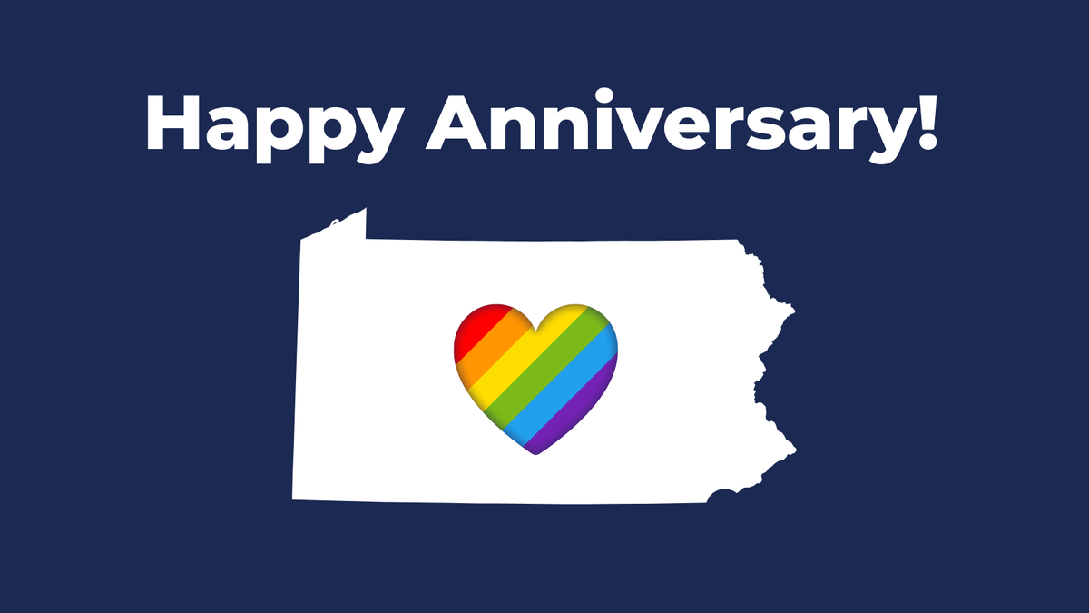 Six years ago today, marriage equality was recognized in Pennsylvania. Happy anniversary! #LoveIsLove pic.twitter.com/M5pkfT6YwO