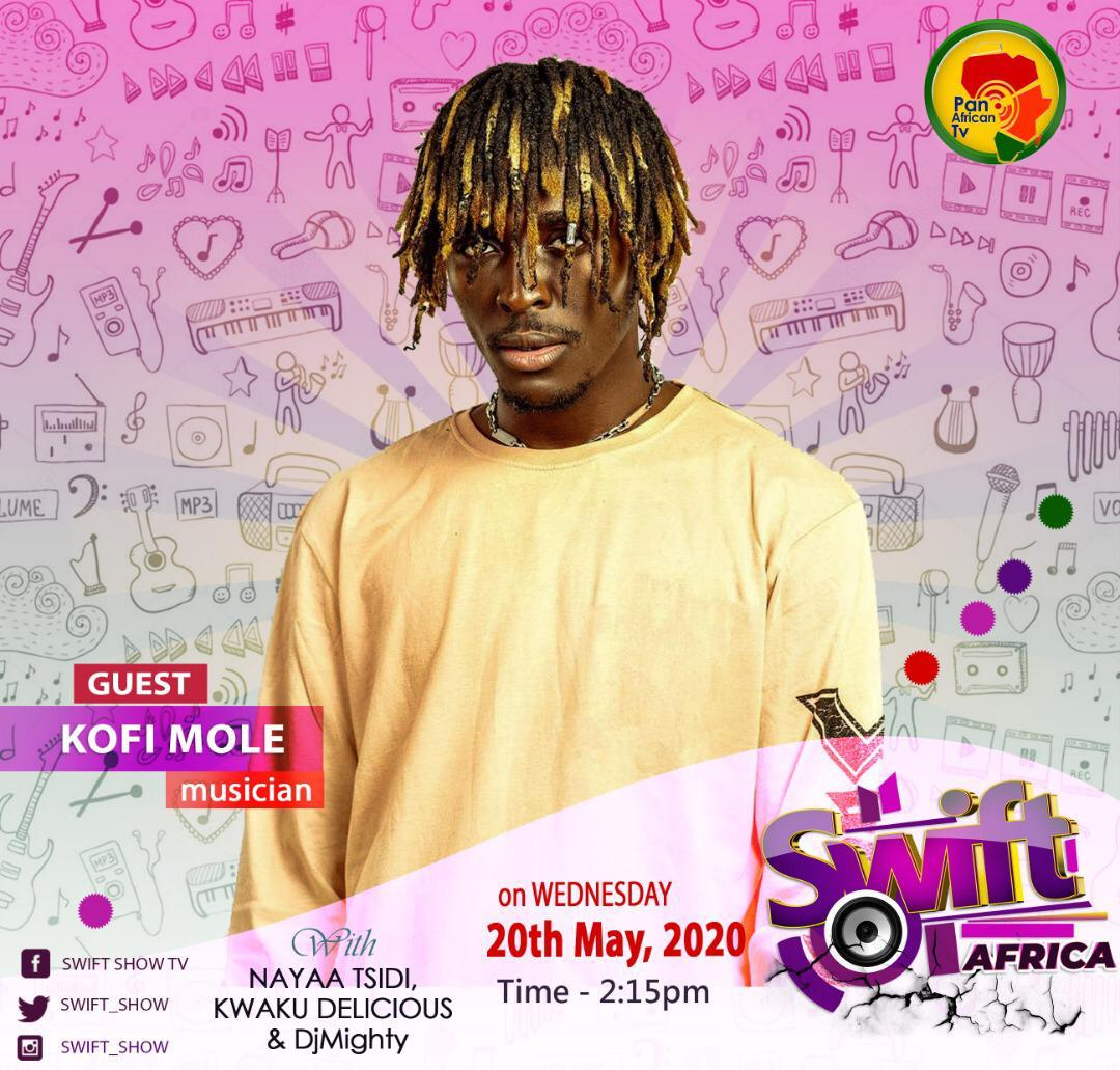 """Guess who we have as guest for Swift Africa today?  The """"Don't Be Late"""" hitmaker, Kofi Mole.  Don't be late to the party!   What is your favourite song of Kofi Mole? . . .  #PanAfricanTV #TrulyAfrican #SwiftAfrica #Music #Africa #Accra #Kumasi #MusicBox #topshellapic.twitter.com/yVgGFchA6Q"""