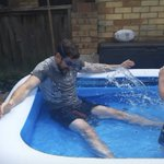 """Mr Tweedie has been trying to keep cool today... in his words, his boys """"rinsed him"""""""