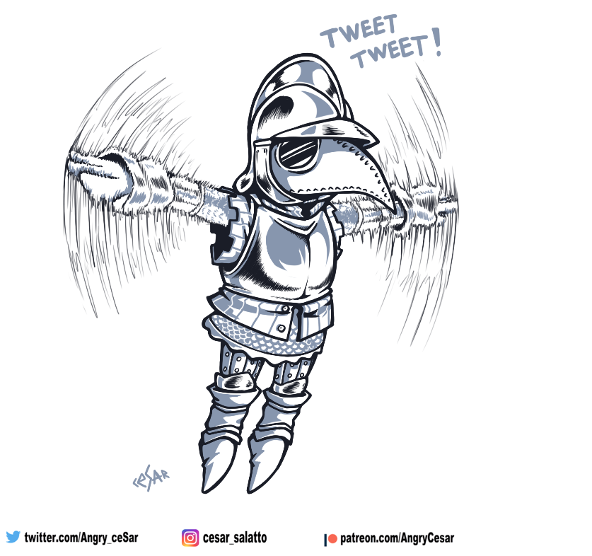 Birdy-knight from Mordhau. Thanks for plague mask, it was the best idea #cesar_art #mordhau #ComicArt