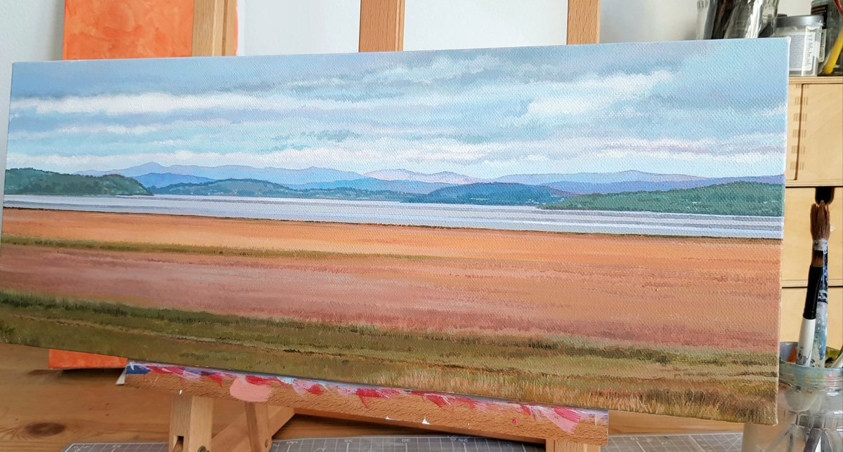 View from Grange Over Sands #cumbria #landscape #painting #lakedistrict acrylic on canvas 50x20cmpic.twitter.com/QsQys5vMdj