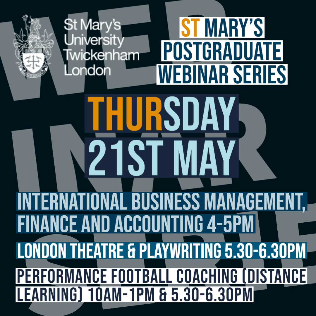 Book your place now 👇 International Business Management, Finance and Accounting programmes 📈 stmarys.zoom.us/webinar/regist… London Theatre & Playwriting 🎭 zoom.us/webinar/regist… Performance Football Coaching (Distance Learning) ⚽️ stmarys.zoom.us/webinar/regist…