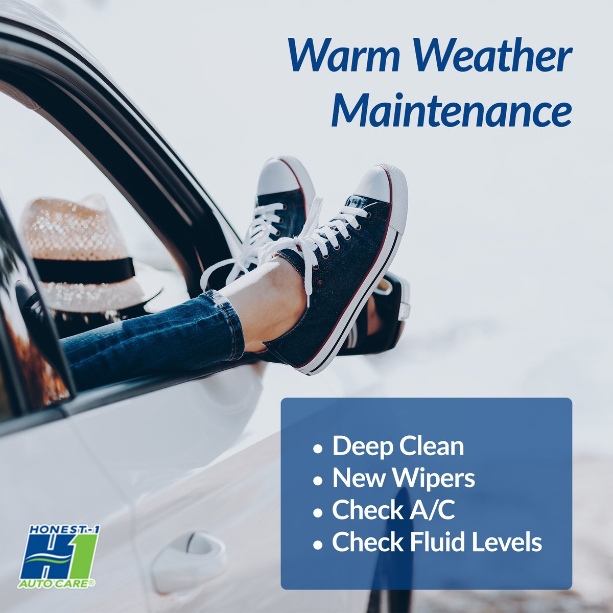 Warm weather means it's time to check off some car maintenance to do's! Give us a call and we can help you out! #HappyWednesday #SafetyisOurPriority #CarTrouble #Honest1Difference #CarService #OilChange #TireRotation #WheelAlignment #EngineRepair #BrakeRepair #JohnsCreekpic.twitter.com/KRZ1edykQW