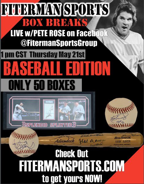 📦⚾️Hey fans I hope everyone is staying safe! Are you missing sports? WE SURE ARE! Join me & @FitermanSports tomorrow for a Mystery Box Break LIVE on Facebook at Fiterman Sports Group! There are some amazing items up for grabs! Buy your box NOW at .