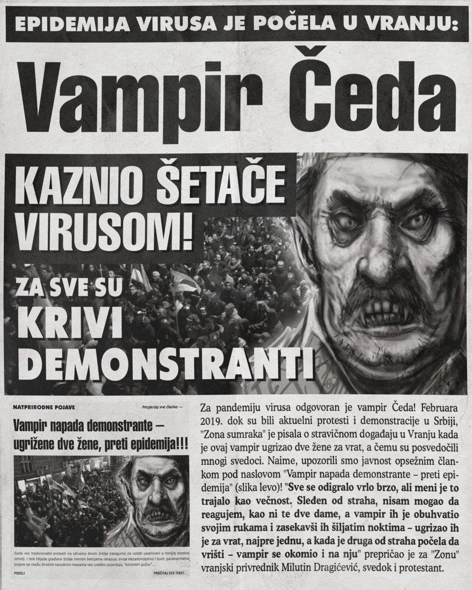 Vampir Čeda kaznio šetače virusom! Za sve su krivi demonstranti