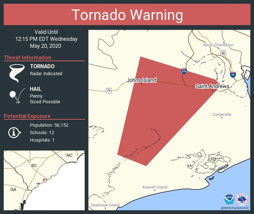 Tornado Warning including Johns Island SC, Saint Andrews SC until 12:15 PM EDT