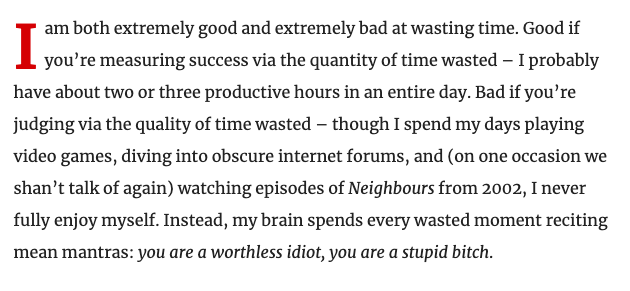I wrote this week's column about my messy relationship with wasting time!! newstatesman.com/politics/uk/20…