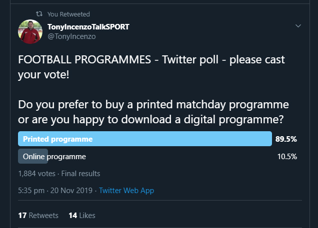 @Martin_Ignite Good good! Always hard times in print. But theres definitely still a market for programmes. As this poll from last year proves. Keeps me going that people still want progs!