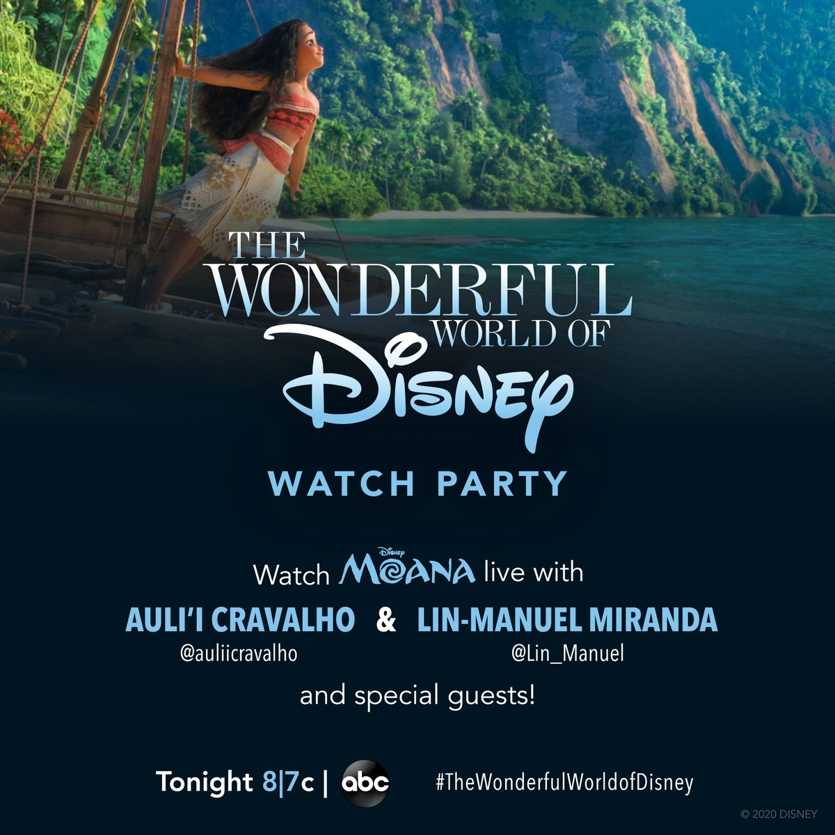 Journey beyond the reef and join @auliicravalho, @lin_manuel, and more special guests as we tweet along to the East Coast airing of #Moana on @ABCNetwork's #TheWonderfulWorldofDisney! Tune in TONIGHT at 8l7c!