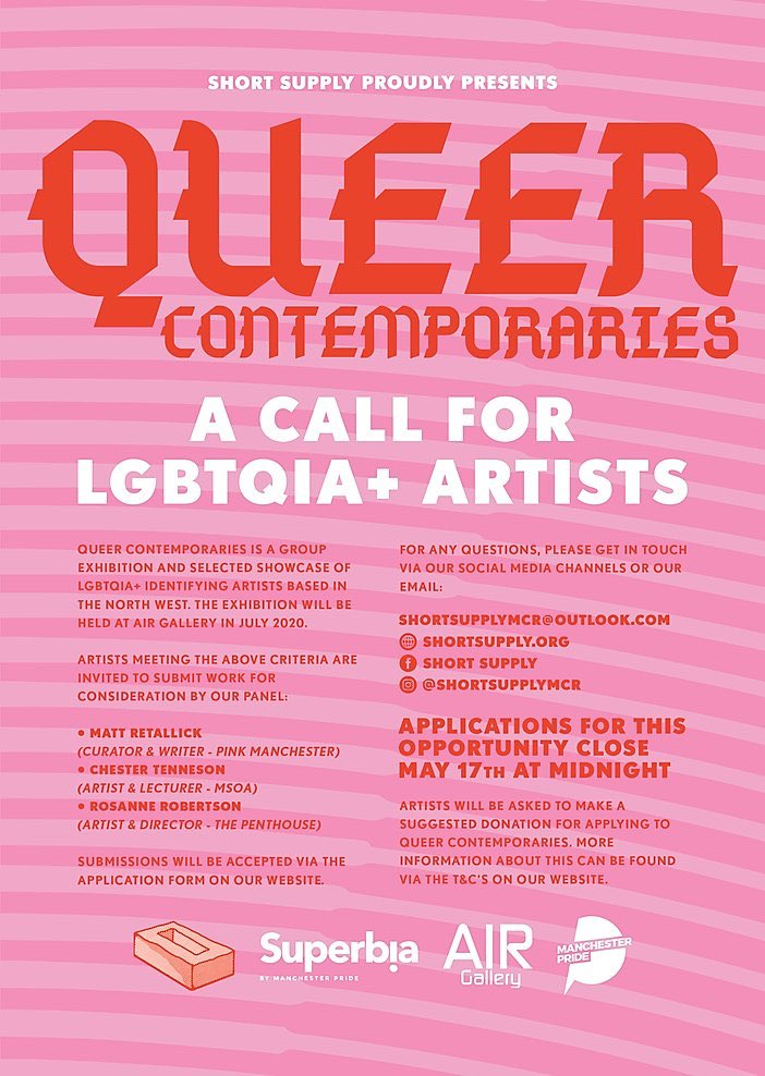 ARTIST CALL The deadline has been extended to 31st of May  #artistscall #lgbt #queer #contemporaryart #northwest #artexhibition #eartspic.twitter.com/CtaMe7DstP