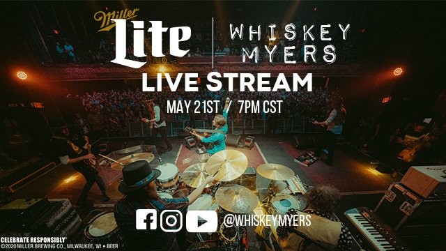 Stay in and rock out with @WhiskeyMyers full live concert tomorrow at 7CT, and don't forget to tip your bartenders at https://t.co/kNKsSk8lA2 — they miss you. https://t.co/Y4sUx4yczU