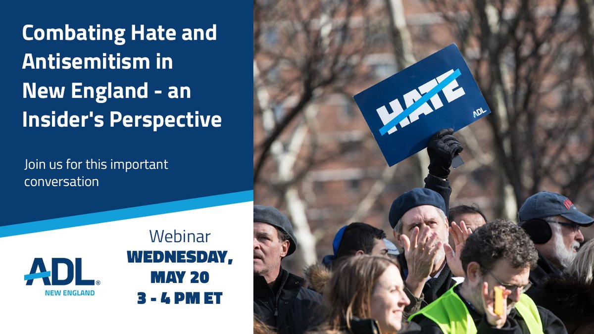 Tune in today at 3 pm ET for our Combating Hate & Antisemitism in New England Webinar! We will discuss the local impact of ADL's Audit of #Antisemitic Incidents &  how to combat hate in your communities. RSVP here: https://t.co/iifk4F2vwM https://t.co/PRPWFH754m