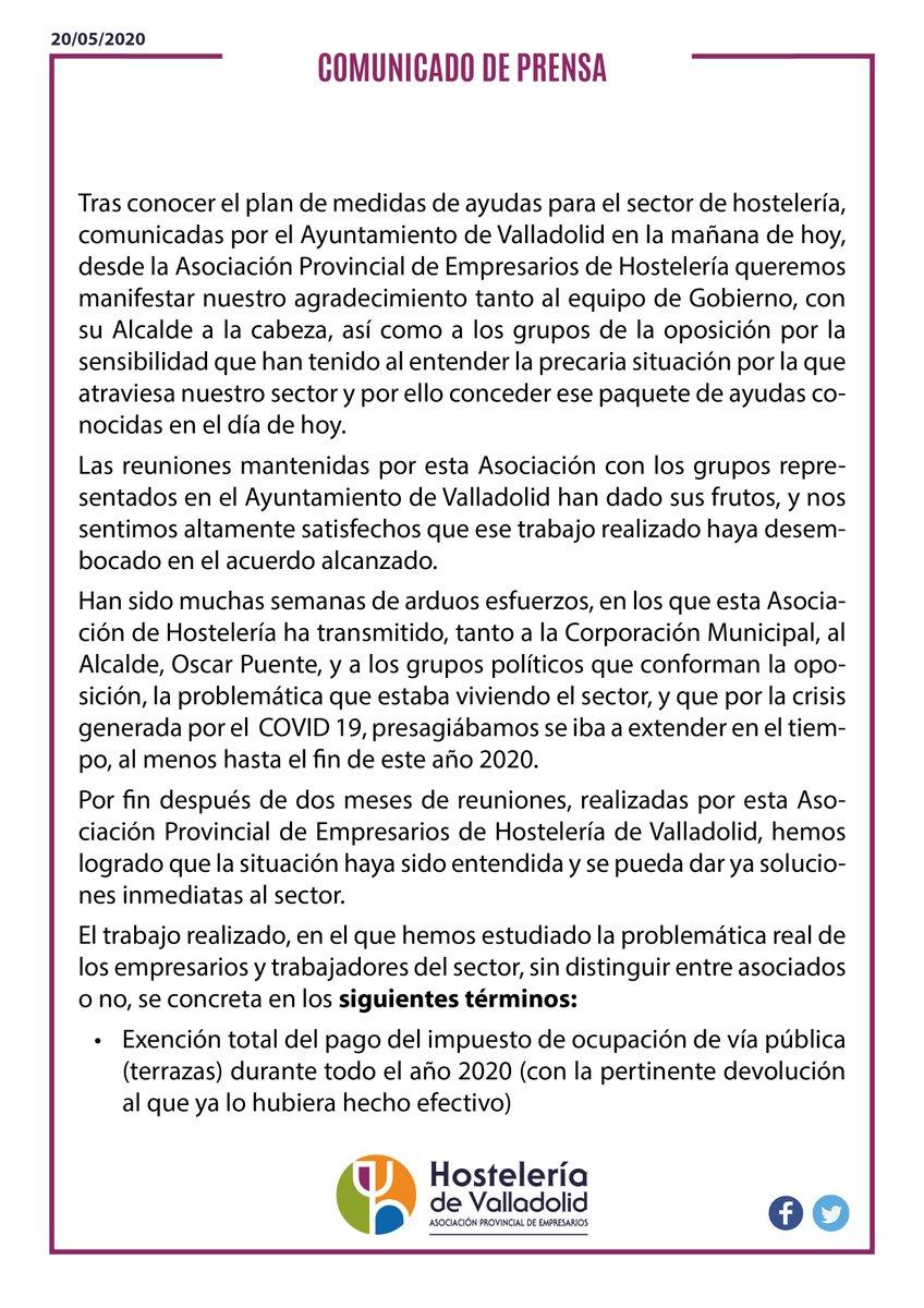 ‼️Plan de medidas de ayudas para el sector de la Hostelería comunicadas por el Ayuntamiento de Valladolid‼️