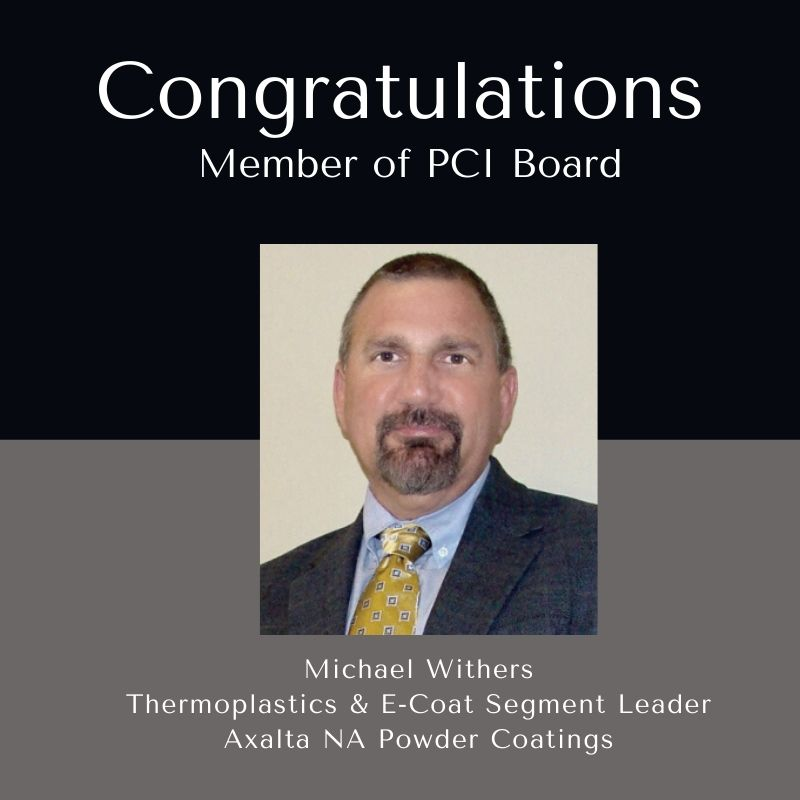 Congratulations to our very own Michael Withers who's been elected as a member of the PCI Board for the remainder of the year.  Great Job! #axalta #powdercoatings #PCI https://t.co/wFMpvasFFw