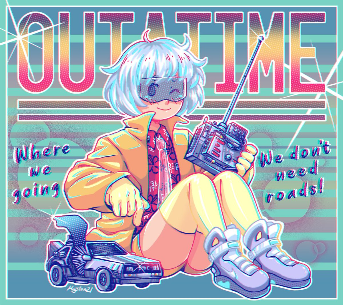 A time machine is what we need right now, and better one with style!! ⚡️⚡️ #myart #illustration #digitalart #fanart #anime #manga #pastel #cute #kawaii #80s #BackToTheFuture #delorean