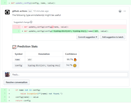 Suggested Python Type Annotations via GitHub Actions using Machine Learning (commit suggestions) from @miltos1 github.com/marketplace/ac… 📢 A great example of using ML w/Actions and 🚀 cool products for the community. #MachineLearningOnCode #MLonCode