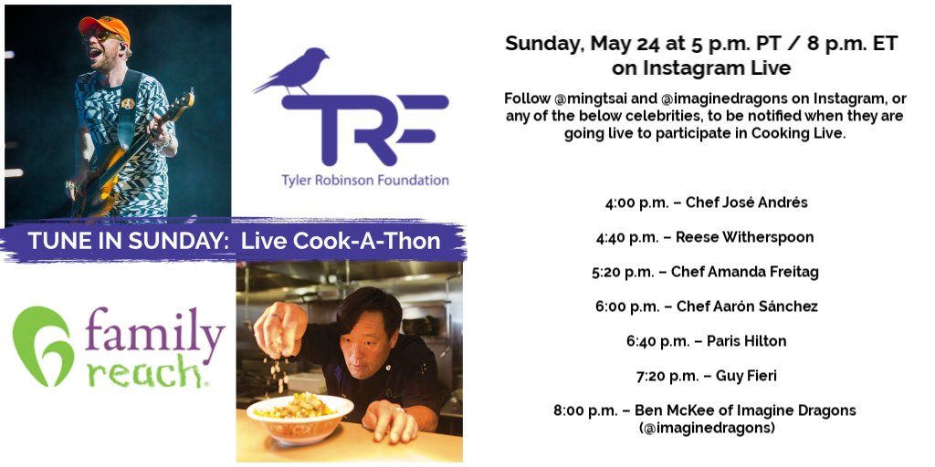 In partnership with @FamilyReach, this Sunday, May 24th, our very own @benamckee of @Imaginedragons will be #CookingLive from his kitchen with Chef @mingtsai for a virtual event to benefit our TRF pediatric cancer families.