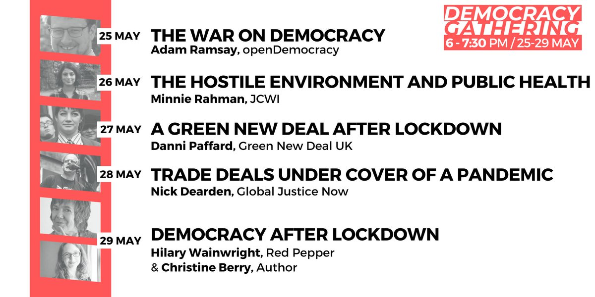 The #DemocracyGathering programme is live! Take part in 5 inspiring conversations with amazing guests from @JCWI_UK, @GlobalJusticeUK, @openDemocracy, @GreenNewDealUK and @RedPeppermag 🙌 📣 Don't miss out: bit.ly/Event-DM