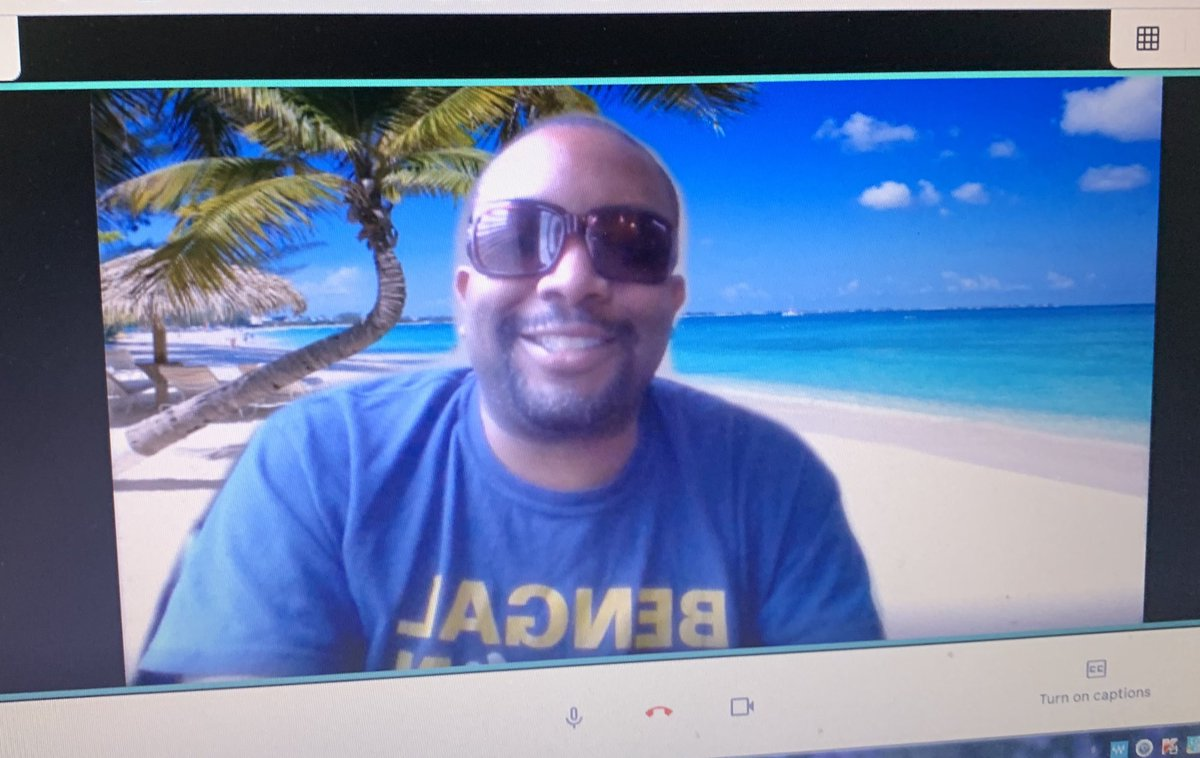 Conducted today's Google Meet class live from my private beach  #awesome pic.twitter.com/qEncpXprBl