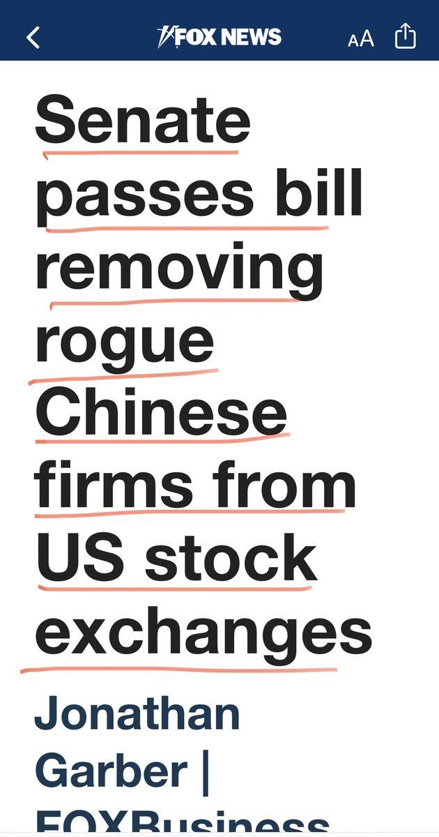 特大新闻! 美国参议院通过法律,把所有的《中国流氓公司》全部从美国股市踢出美国!  法案写的清楚,如果你们不想让我们监督,你们就没有资格列在美国的股市!  注:《流氓中国公司》不是我杜撰的,而是参议院法案就是这么写的 https://t.co/CH81382WT7